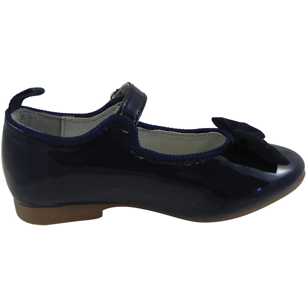 OshKosh Girl's Bella Patent Leather Hook and Loop Bow Mary Jane Flats Navy - Just Shoes for Kids  - 4