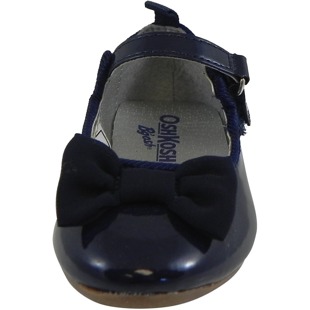 OshKosh Girl's Bella Patent Leather Hook and Loop Bow Mary Jane Flats Navy - Just Shoes for Kids  - 5