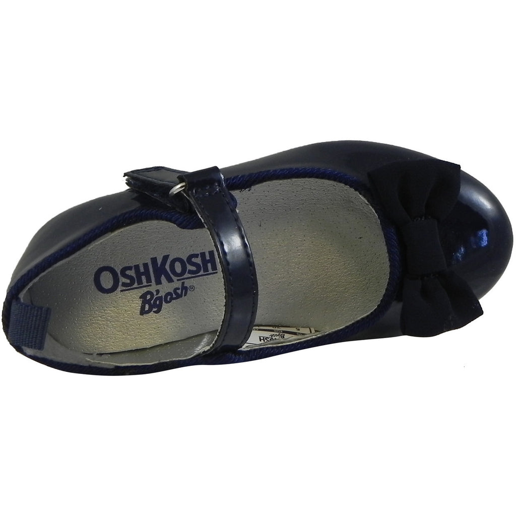 OshKosh Girl's Bella Patent Leather Hook and Loop Bow Mary Jane Flats Navy - Just Shoes for Kids  - 6