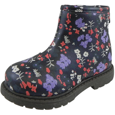 OshKosh Girl's Raquel Multi-Color Floral Zip Up Ankle Bootie Boot Shoe Navy/Multi - Just Shoes for Kids  - 1