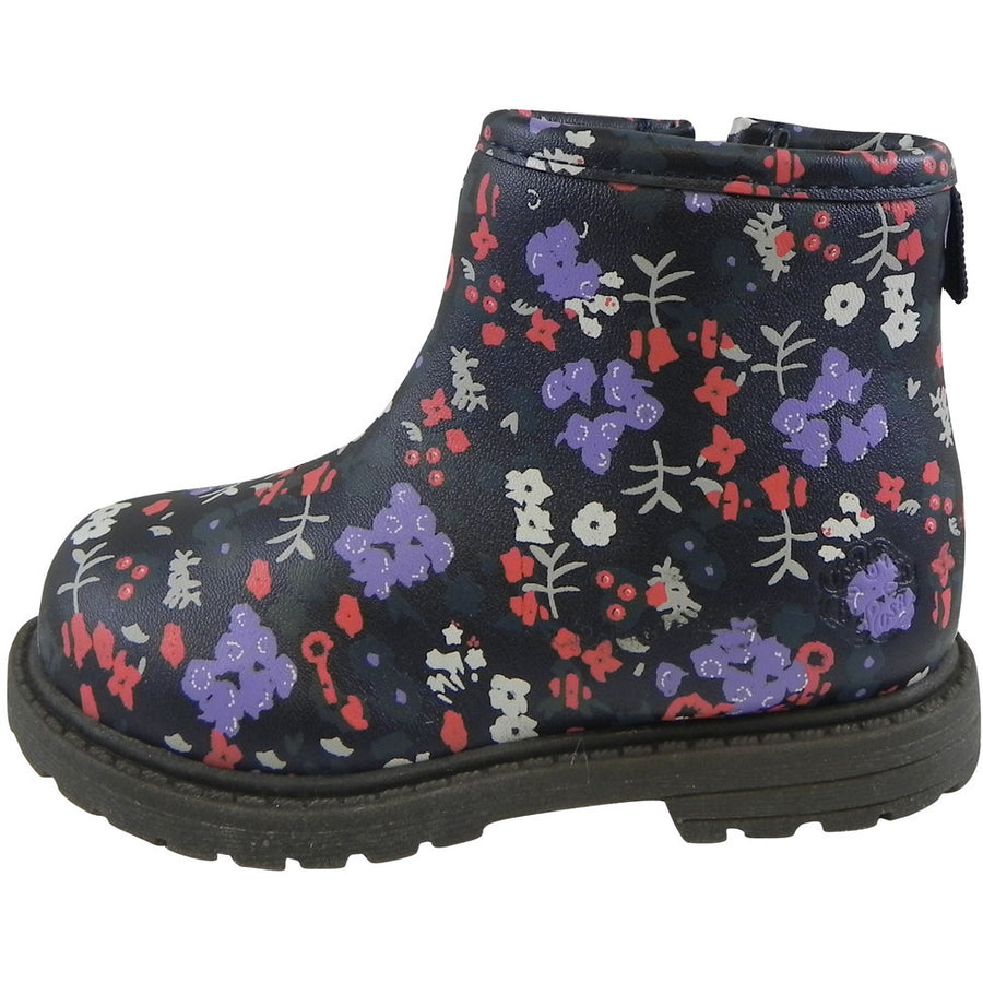 OshKosh Girl's Raquel Multi-Color Floral Zip Up Ankle Bootie Boot Shoe Navy/Multi - Just Shoes for Kids  - 2