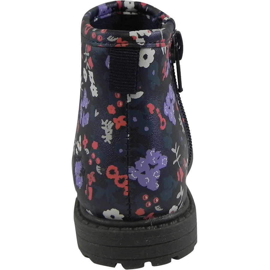 OshKosh Girl's Raquel Multi-Color Floral Zip Up Ankle Bootie Boot Shoe Navy/Multi - Just Shoes for Kids  - 3