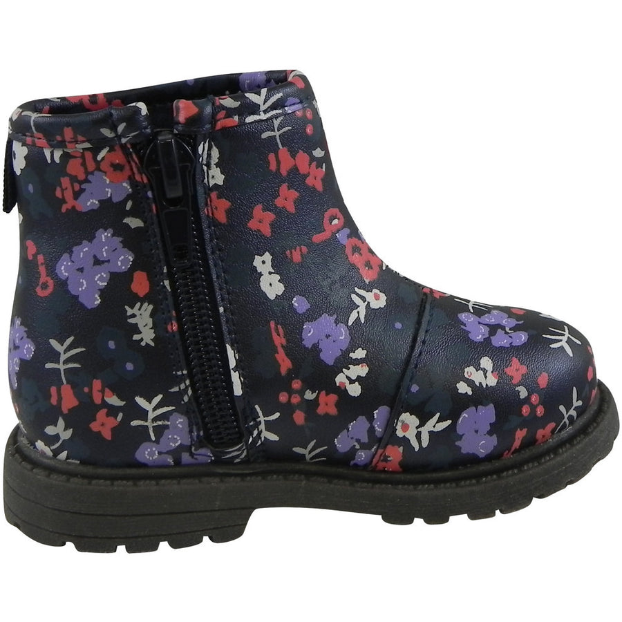 OshKosh Girl's Raquel Multi-Color Floral Zip Up Ankle Bootie Boot Shoe Navy/Multi - Just Shoes for Kids  - 4