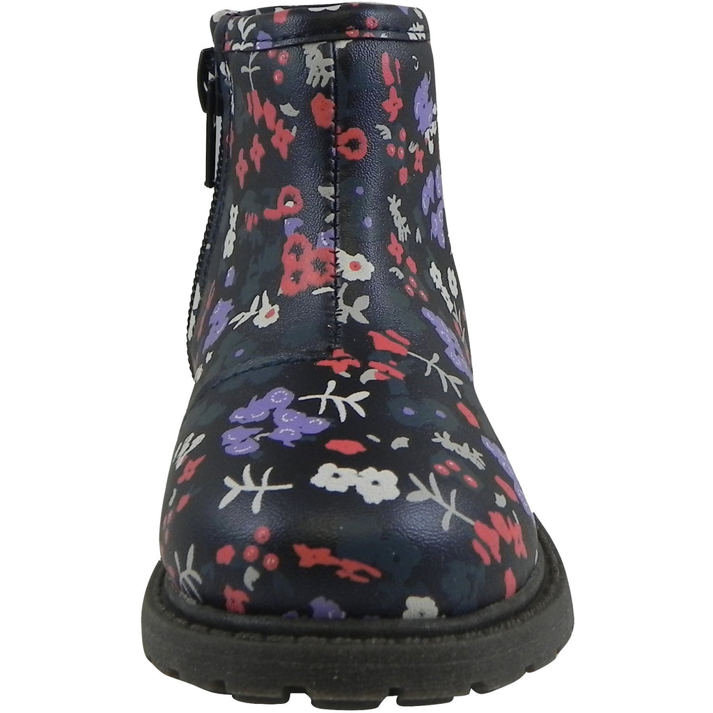 OshKosh Girl's Raquel Multi-Color Floral Zip Up Ankle Bootie Boot Shoe Navy/Multi - Just Shoes for Kids  - 5