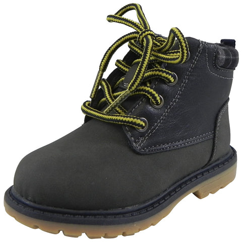 OshKosh Boy's Chandler Plaid Classic Lace Up Ankle Boots Navy - Just Shoes for Kids  - 1