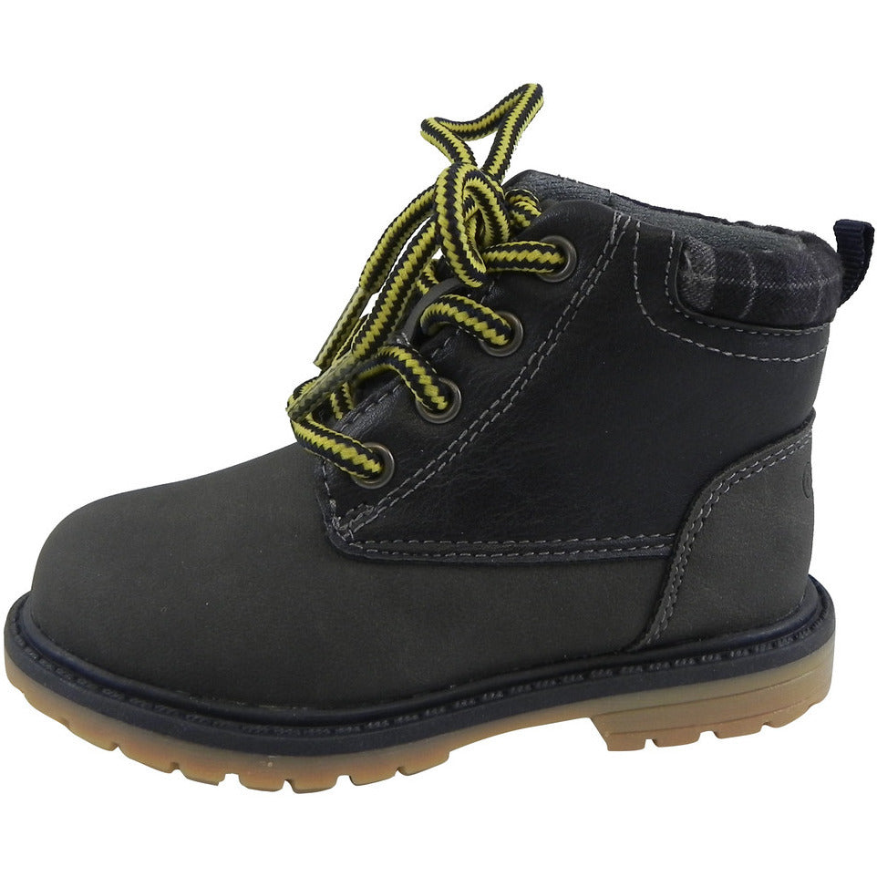 OshKosh Boy's Chandler Plaid Classic Lace Up Ankle Boots Navy - Just Shoes for Kids  - 2
