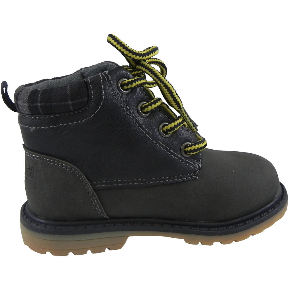 OshKosh Boy's Chandler Plaid Classic Lace Up Ankle Boots Navy - Just Shoes for Kids  - 4
