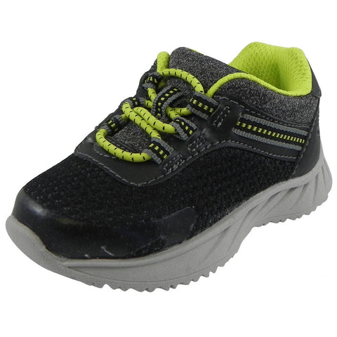 OshKosh Boy's Surge Mesh Stretch Lace Slip On Sneaker Black/Lime - Just Shoes for Kids  - 1