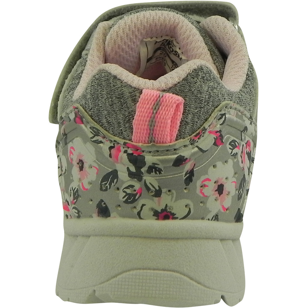 OshKosh Girl's Rivet Design Slip On Hook and Loop Sneaker Light Grey/Pink - Just Shoes for Kids  - 3