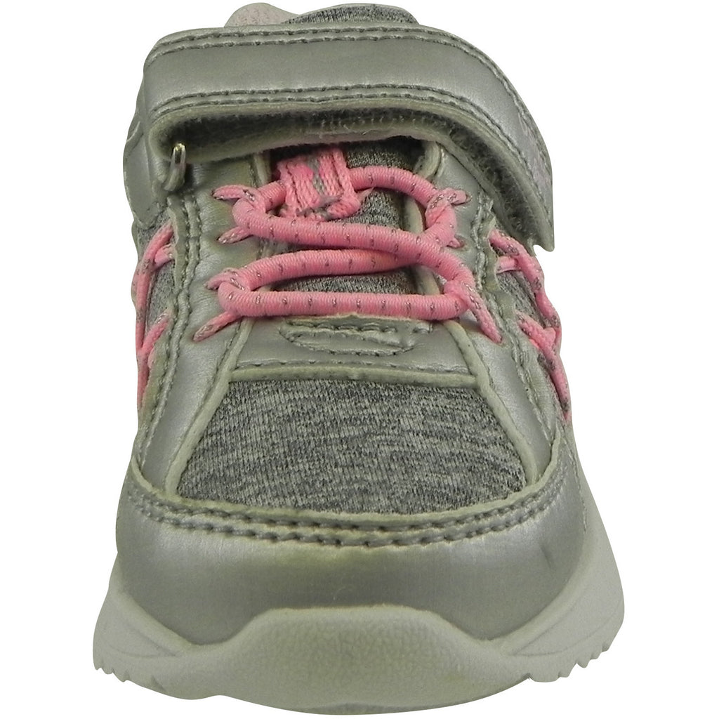 OshKosh Girl's Rivet Design Slip On Hook and Loop Sneaker Light Grey/Pink - Just Shoes for Kids  - 5
