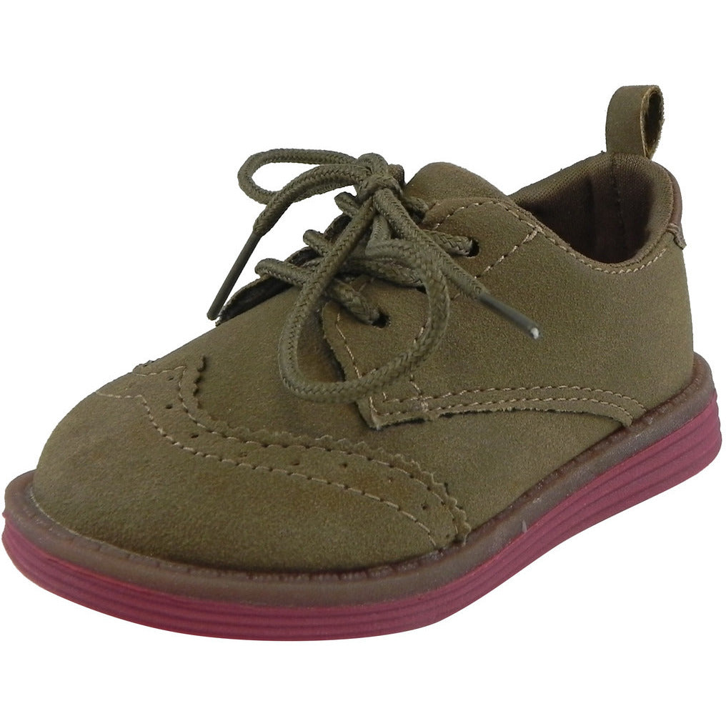 OshKosh Girl's Soft Faux Suede Classic Lace Up Oxford Loafer Shoes Tan - Just Shoes for Kids  - 1