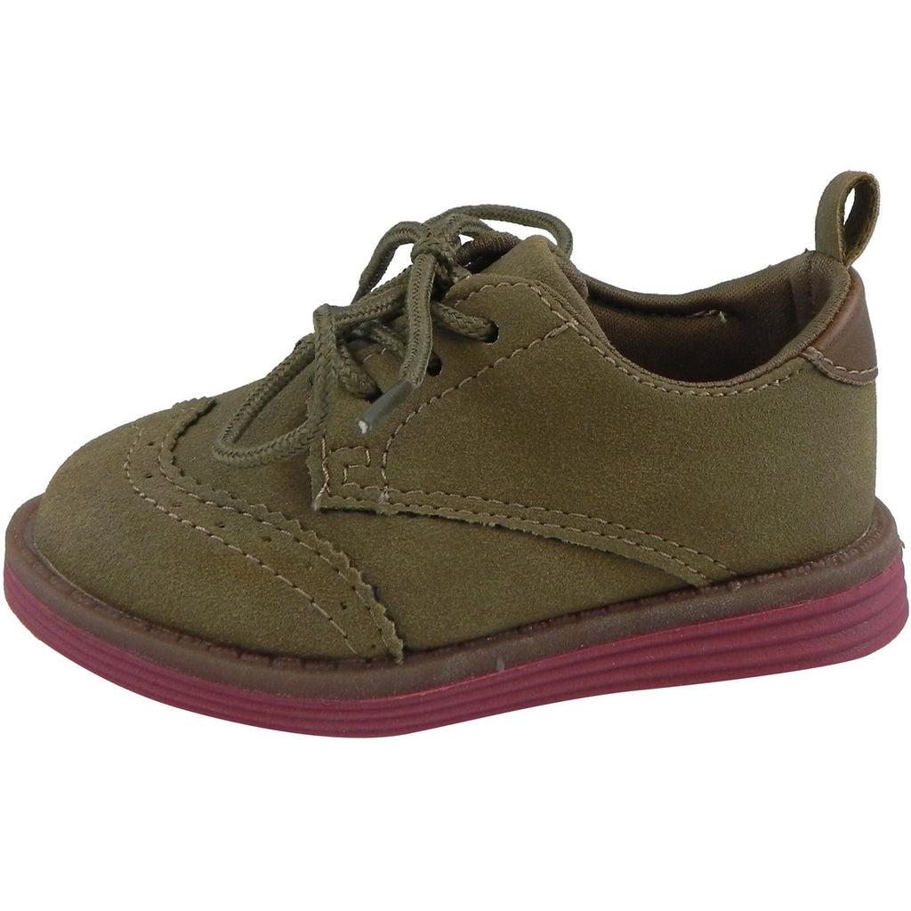 OshKosh Girl's Soft Faux Suede Classic Lace Up Oxford Loafer Shoes Tan - Just Shoes for Kids  - 2
