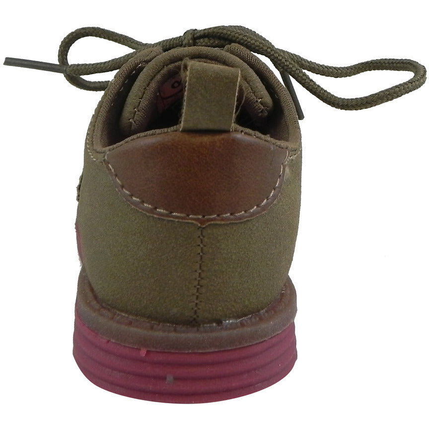 OshKosh Girl's Soft Faux Suede Classic Lace Up Oxford Loafer Shoes Tan - Just Shoes for Kids  - 3