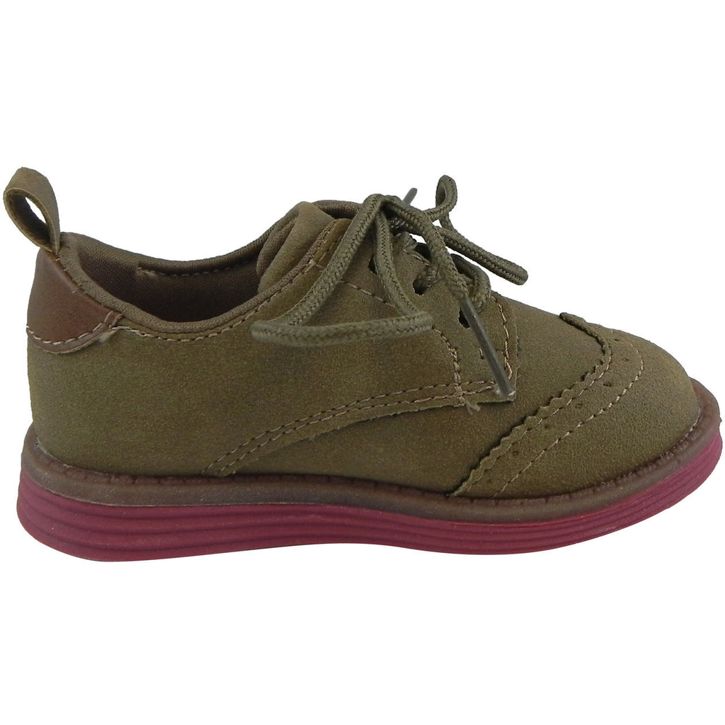 OshKosh Girl's Soft Faux Suede Classic Lace Up Oxford Loafer Shoes Tan - Just Shoes for Kids  - 4
