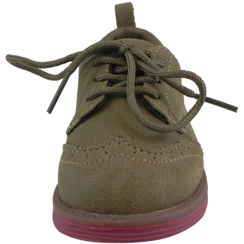 OshKosh Girl's Soft Faux Suede Classic Lace Up Oxford Loafer Shoes Tan - Just Shoes for Kids  - 5