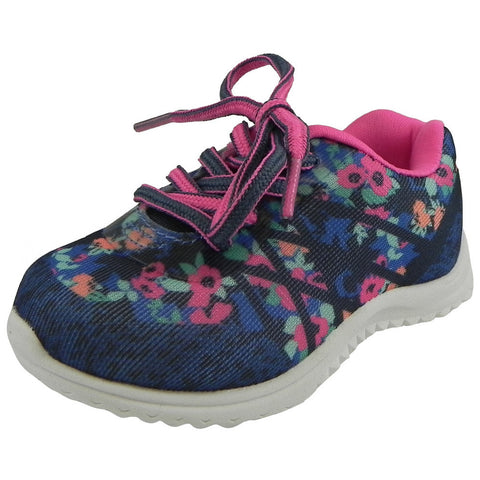 OshKosh Girl's Kova Comfortable Floral Easy On Lace Up Sneakers Blue/Pink - Just Shoes for Kids  - 1