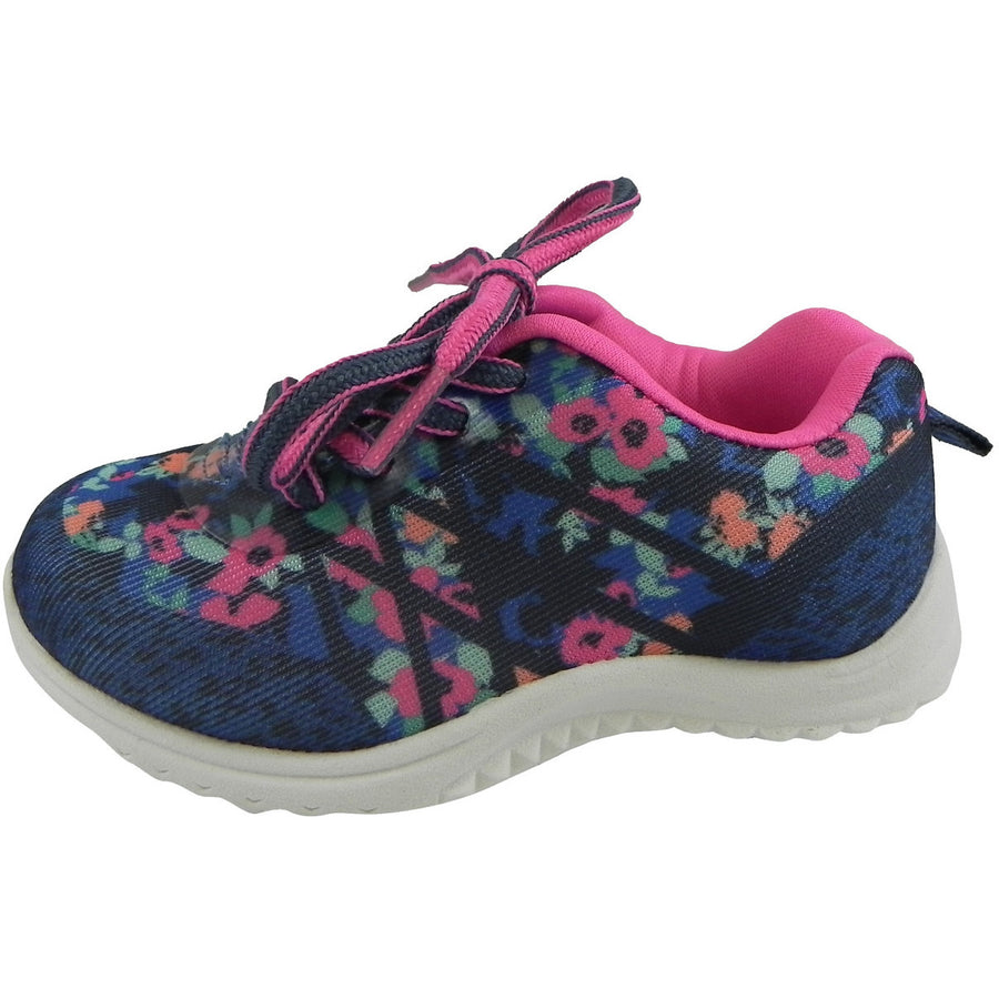 OshKosh Girl's Kova Comfortable Floral Easy On Lace Up Sneakers Blue/Pink - Just Shoes for Kids  - 2