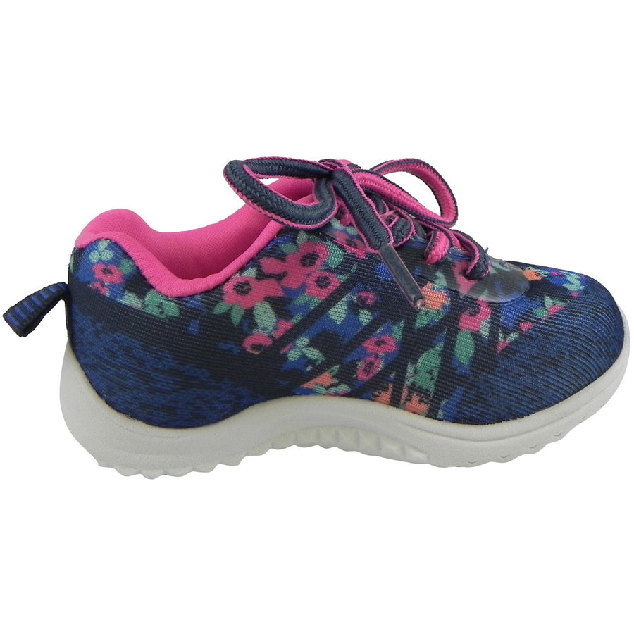 OshKosh Girl's Kova Comfortable Floral Easy On Lace Up Sneakers Blue/Pink - Just Shoes for Kids  - 4