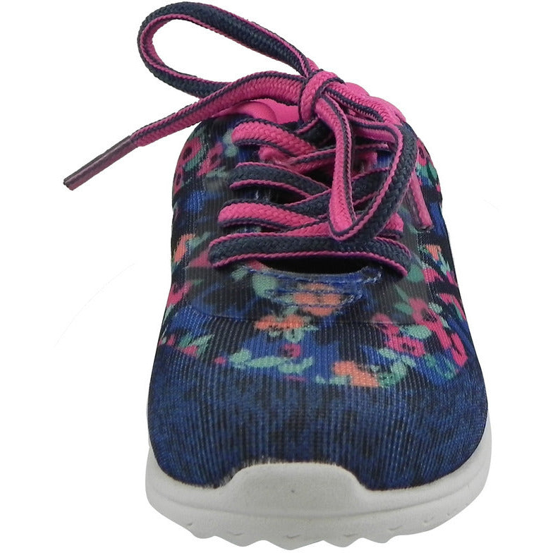 OshKosh Girl's Kova Comfortable Floral Easy On Lace Up Sneakers Blue/Pink - Just Shoes for Kids  - 5