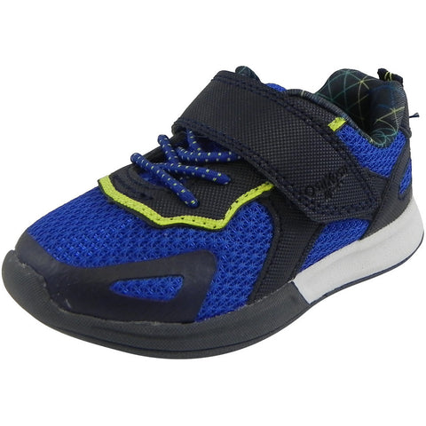 OshKosh Boy's Galaxy Mesh Lace Up Hook and Loop Sneaker Navy/Blue - Just Shoes for Kids  - 1