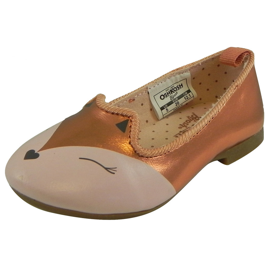 OshKosh Girl's Tabby Slip On Fox Animal Ballet Flat Shoes Bronze - Just Shoes for Kids  - 1