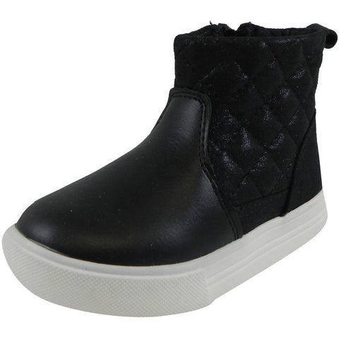 OshKosh Girl's Foxy Leather Quilted Zip Up Ankle Bootie Boots Shoes Black - Just Shoes for Kids  - 1