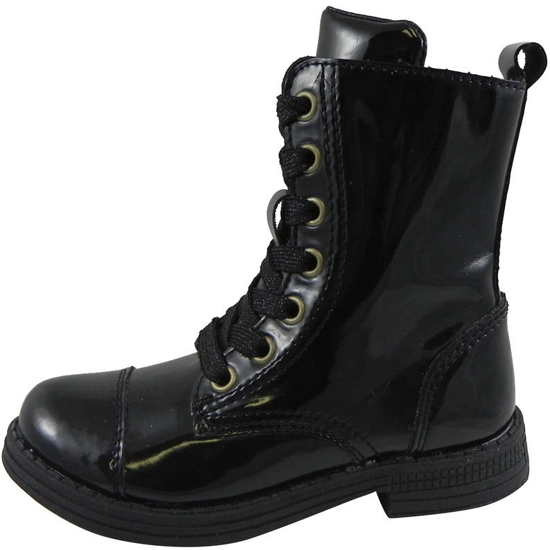 Umi Girls' Black Stomp Zipper Boot - Just Shoes for Kids  - 2