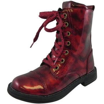 Umi Girl's Stomp Patent Leather Lace Up Zipper Closure Ankle Combat Boots Cherry - Just Shoes for Kids  - 1