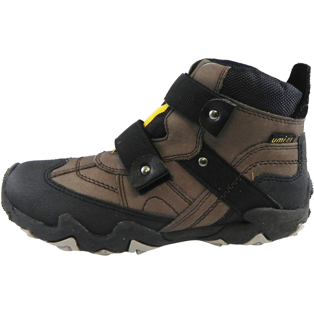 Umi Boy's Moabb Brown Black Durable Double Hook and Loop High Top Adventure Sneakers