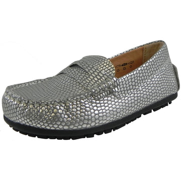 Umi Girl's Mariel Snake Print Slip On Moccasin Loafer Shoe Flats Silver - Just Shoes for Kids  - 1