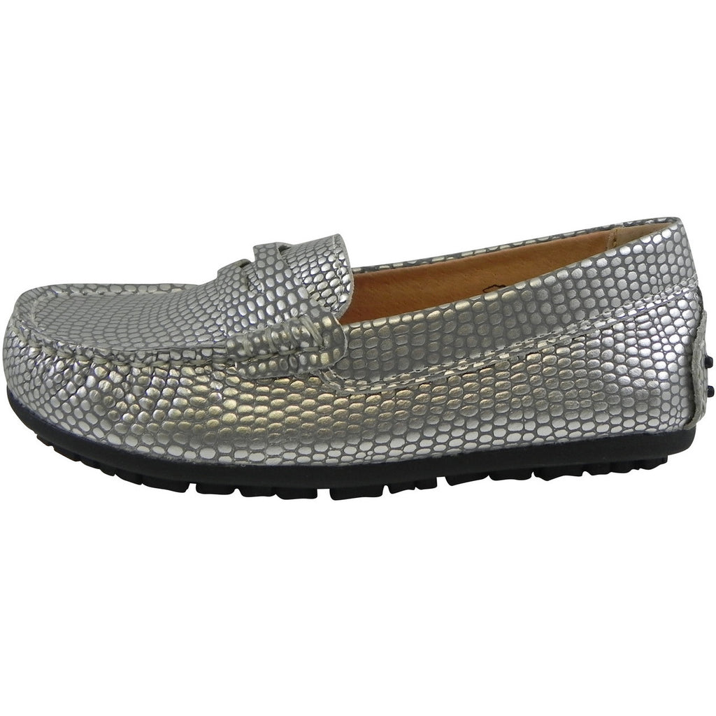 Umi Girl's Mariel Snake Print Slip On Moccasin Loafer Shoe Flats Silver - Just Shoes for Kids  - 2