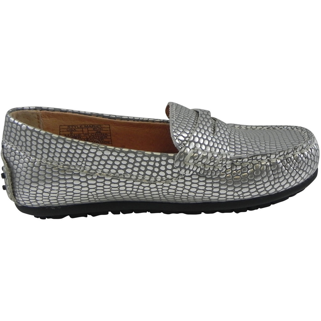 Umi Girl's Mariel Snake Print Slip On Moccasin Loafer Shoe Flats Silver - Just Shoes for Kids  - 4