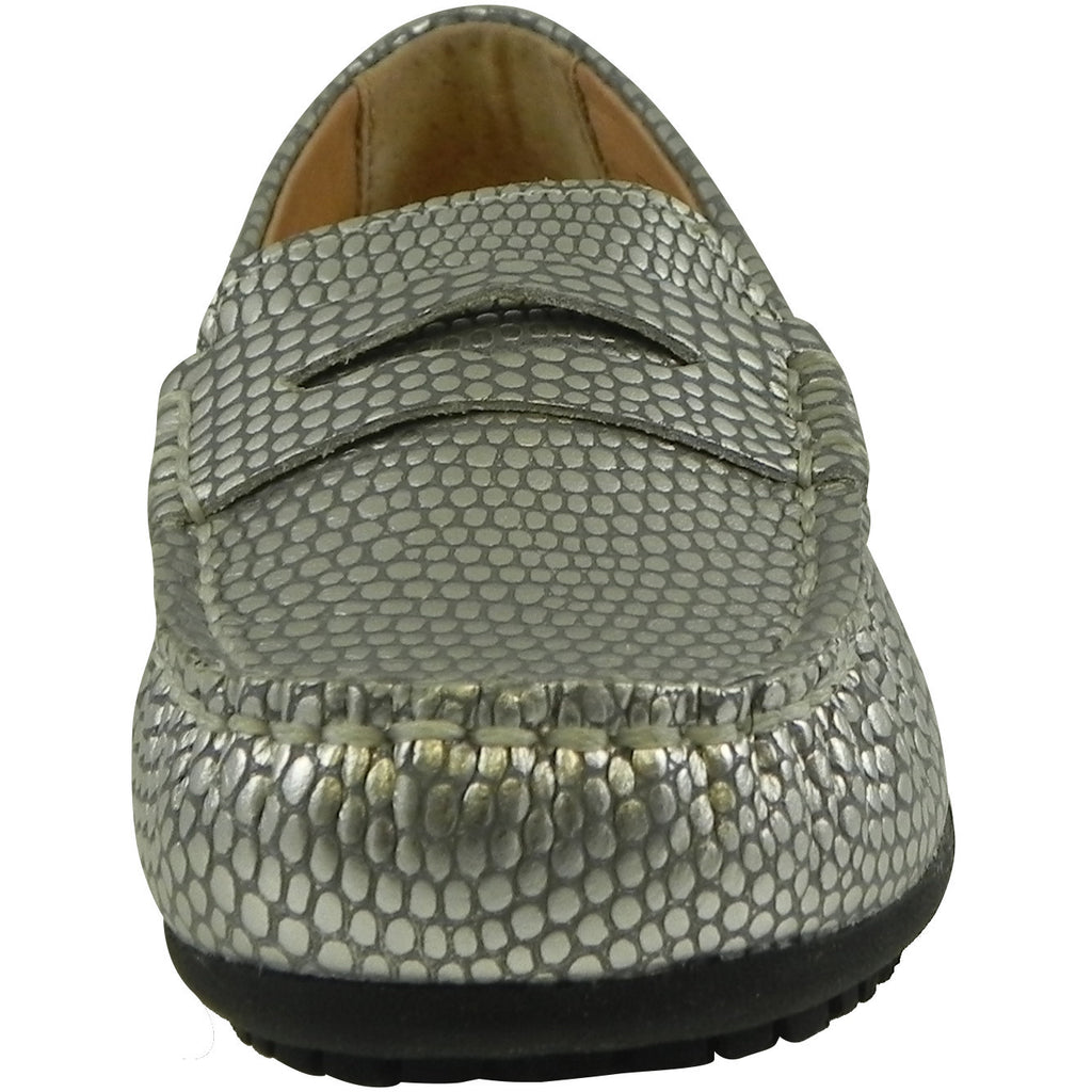 Umi Girl's Mariel Snake Print Slip On Moccasin Loafer Shoe Flats Silver - Just Shoes for Kids  - 5
