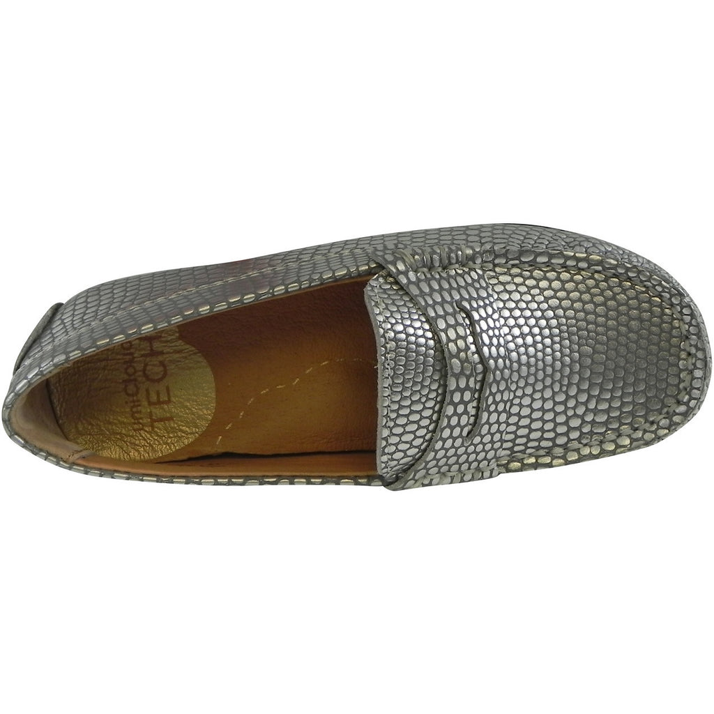 Umi Girl's Mariel Snake Print Slip On Moccasin Loafer Shoe Flats Silver - Just Shoes for Kids  - 6