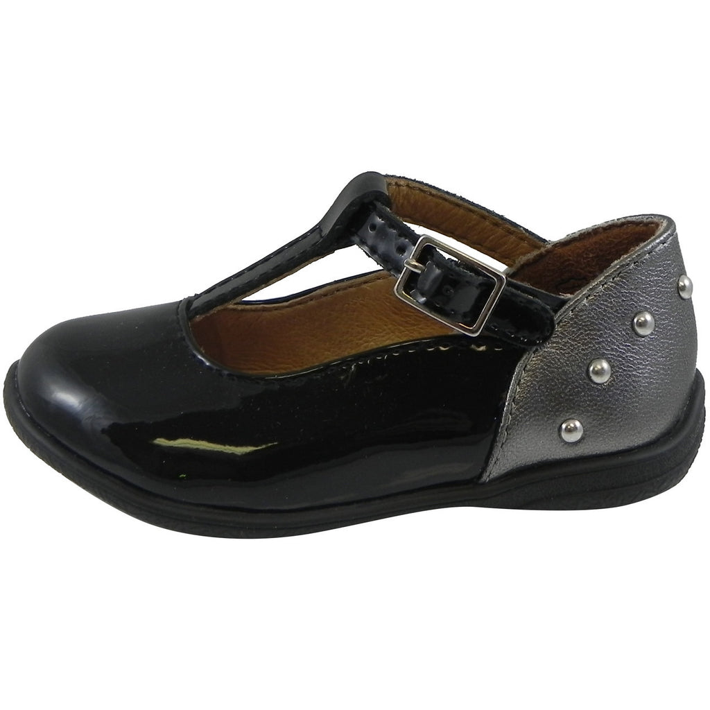 Umi Girl's Patent Leather T-Strap Studded Mary Jane Flats Black - Just Shoes for Kids  - 2