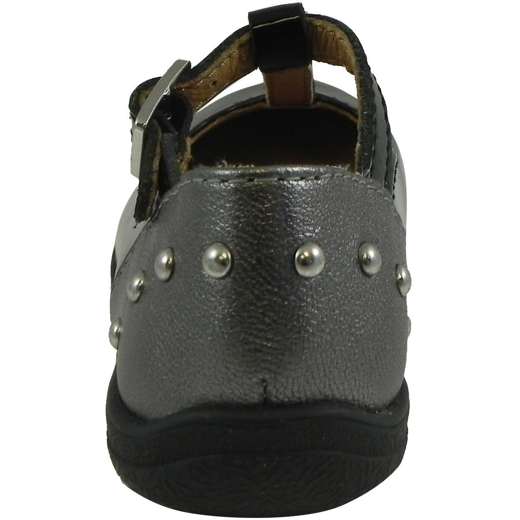 Umi Girl's Patent Leather T-Strap Studded Mary Jane Flats Black - Just Shoes for Kids  - 3
