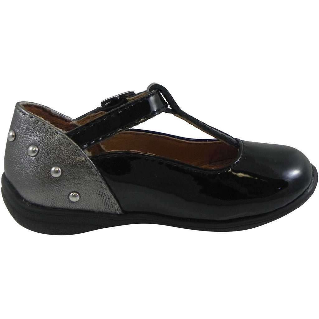 Umi Girl's Patent Leather T-Strap Studded Mary Jane Flats Black - Just Shoes for Kids  - 4