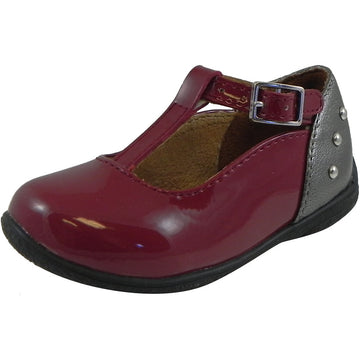 Umi Girl's Patent Leather T-Strap Studded Mary Jane Flats Burgundy - Just Shoes for Kids  - 1