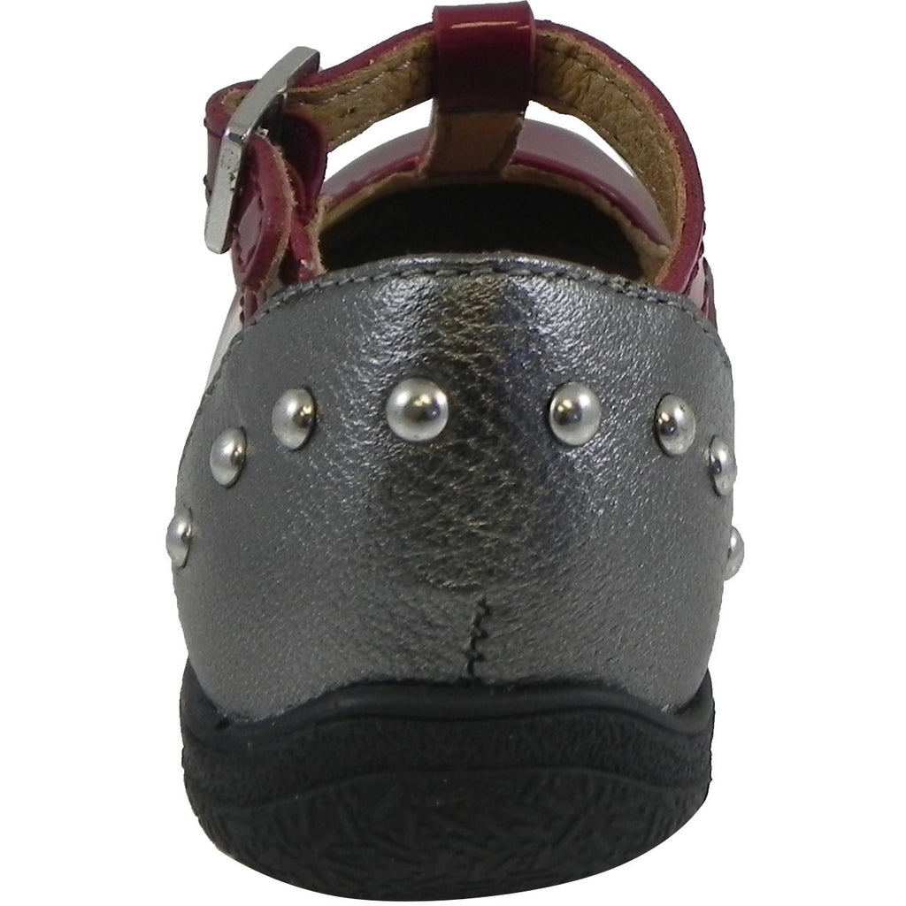 Umi Girl's Patent Leather T-Strap Studded Mary Jane Flats Burgundy - Just Shoes for Kids  - 3