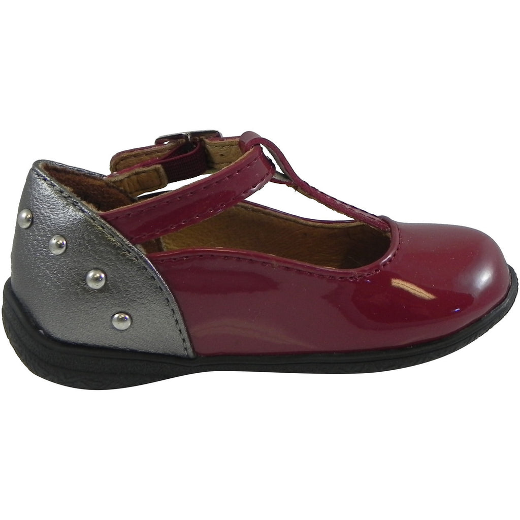 Umi Girl's Patent Leather T-Strap Studded Mary Jane Flats Burgundy - Just Shoes for Kids  - 4