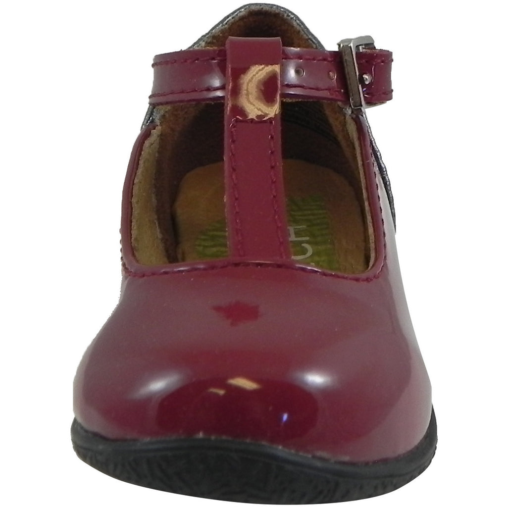 73eabb5e588 Umi Girl s Patent Leather T-Strap Studded Mary Jane Flats Burgundy - Just  Shoes for