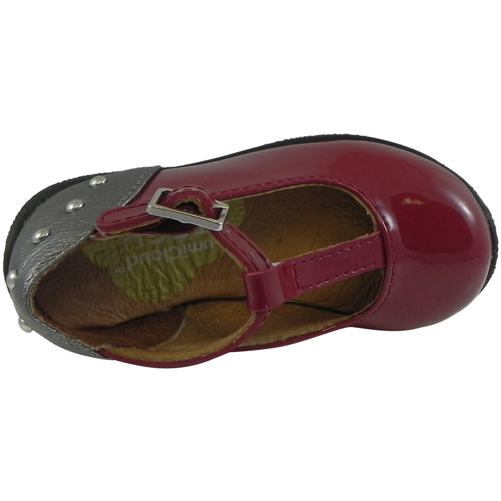 Umi Girl's Patent Leather T-Strap Studded Mary Jane Flats Burgundy - Just Shoes for Kids  - 6