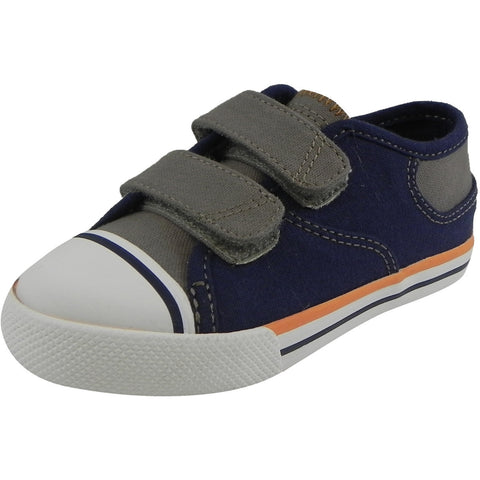 Umi Boy's Claud Canvas Double Hook and Loop Low Top Sneakers Navy/Taupe - Just Shoes for Kids  - 1