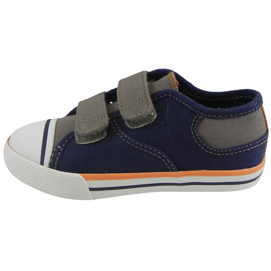 Umi Boy's Claud Canvas Double Hook and Loop Low Top Sneakers Navy/Taupe - Just Shoes for Kids  - 2