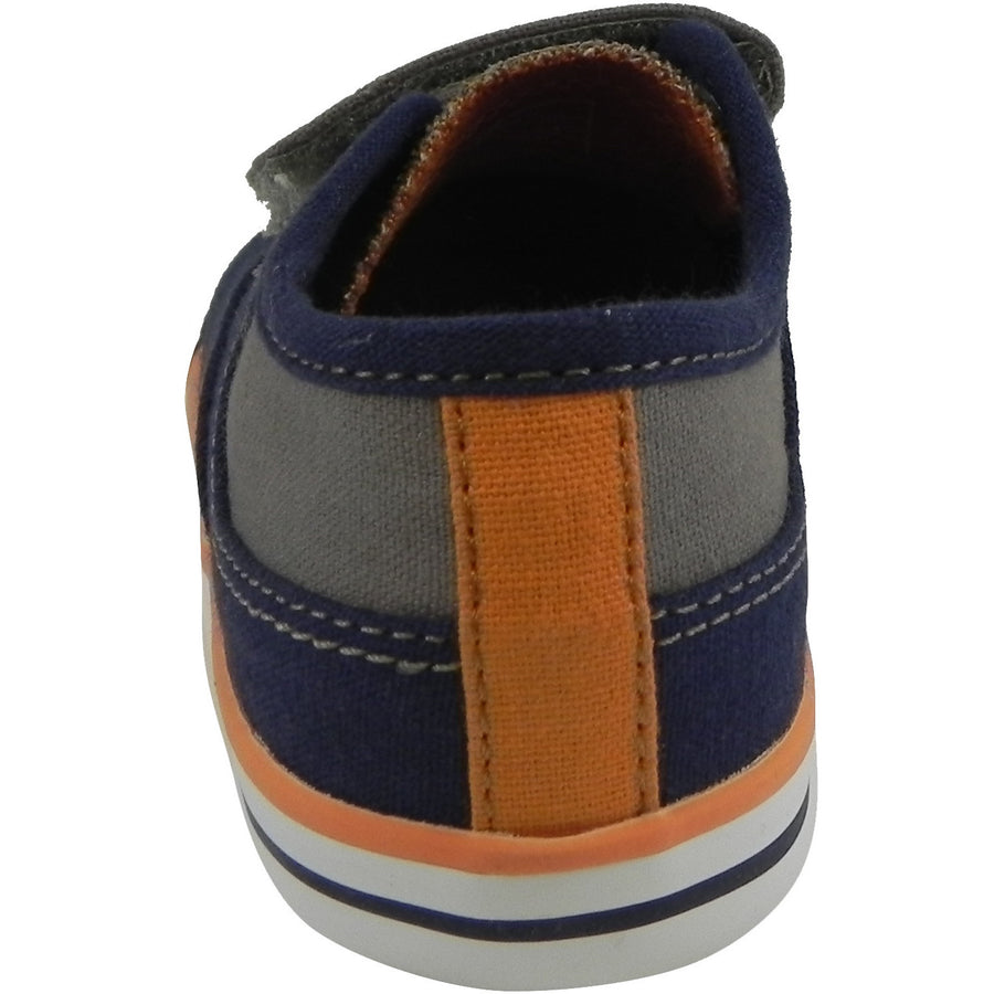 Umi Boy's Claud Canvas Double Hook and Loop Low Top Sneakers Navy/Taupe - Just Shoes for Kids  - 3