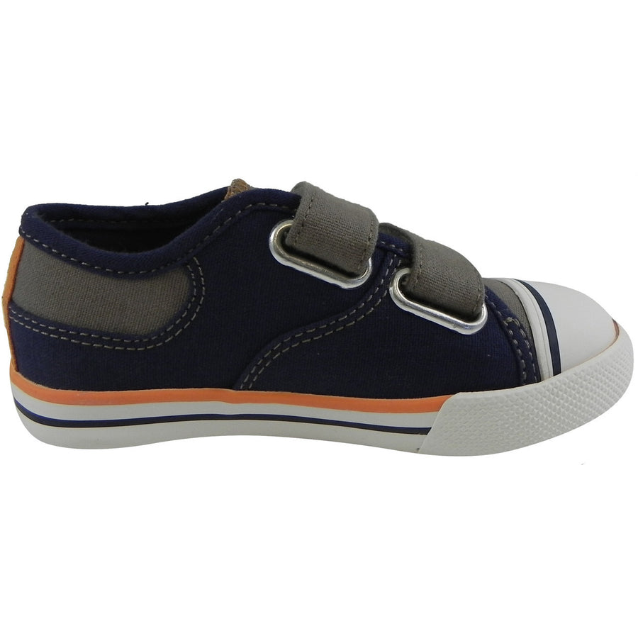 Umi Boy's Claud Canvas Double Hook and Loop Low Top Sneakers Navy/Taupe - Just Shoes for Kids  - 4