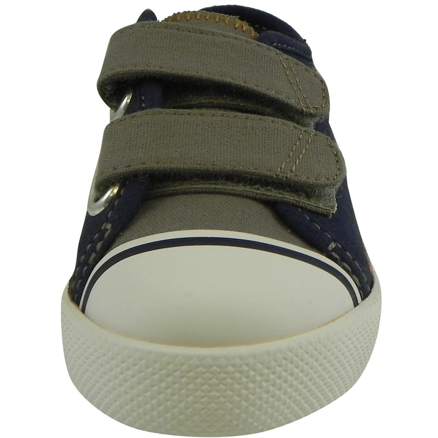 Umi Boy's Claud Canvas Double Hook and Loop Low Top Sneakers Navy/Taupe - Just Shoes for Kids  - 5
