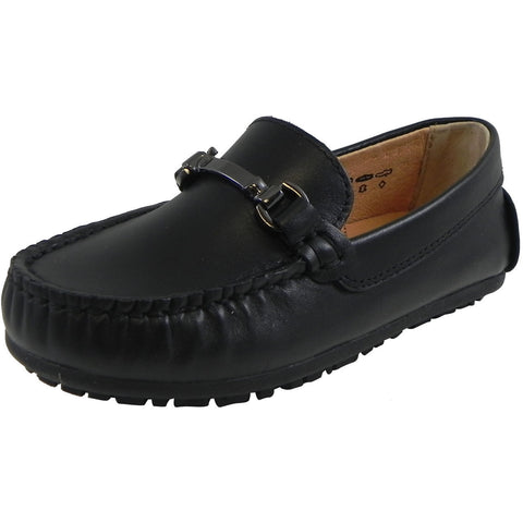 Umi Boy's Ira Leather Classic Slip On Oxford Hardware Detail Loafer Shoes Black - Just Shoes for Kids  - 1