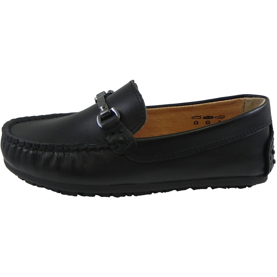 Umi Boy's Ira Leather Classic Slip On Oxford Hardware Detail Loafer Shoes Black - Just Shoes for Kids  - 2