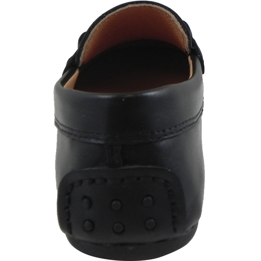 Umi Boy's Ira Leather Classic Slip On Oxford Hardware Detail Loafer Shoes Black - Just Shoes for Kids  - 3